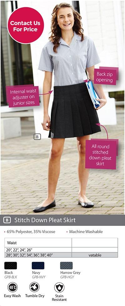 Girls School Pleated Skirt Elasticated Waist Marton Mills Fabric
